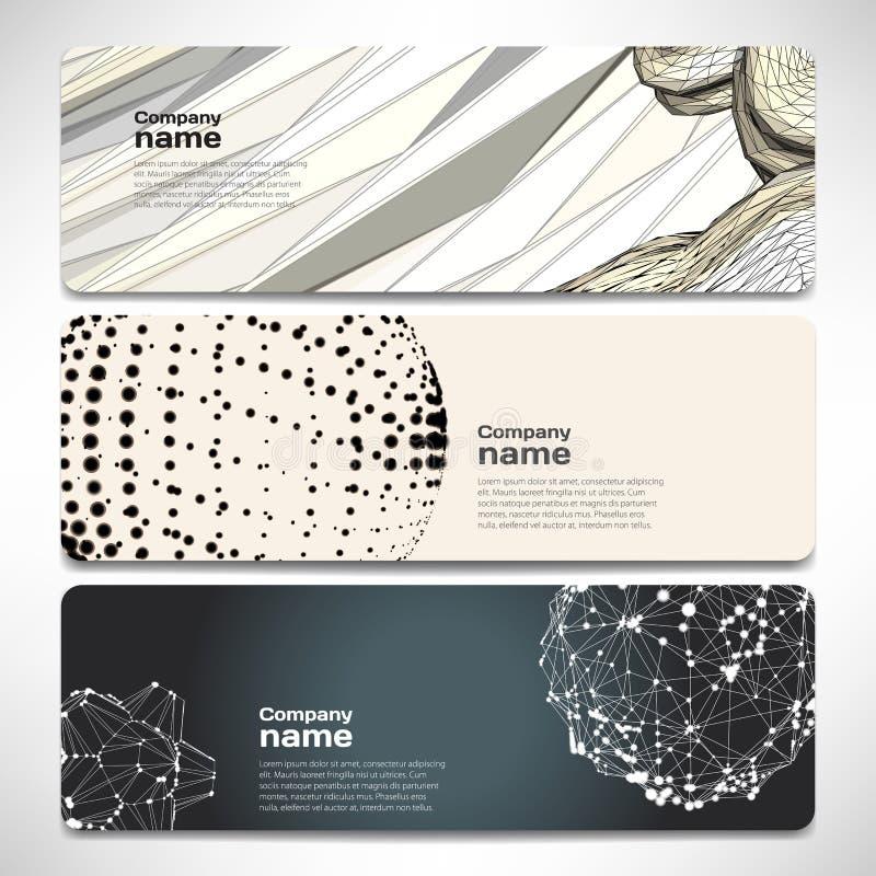 Vektormallbaner med digital teknologi och internet royaltyfri illustrationer