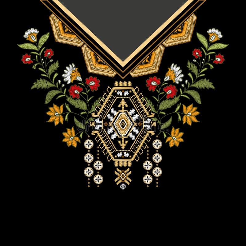 Vektormalldesign för krageskjortor, blusar, T-tröja Broderiblommahals och geometrisk prydnad paisley stock illustrationer
