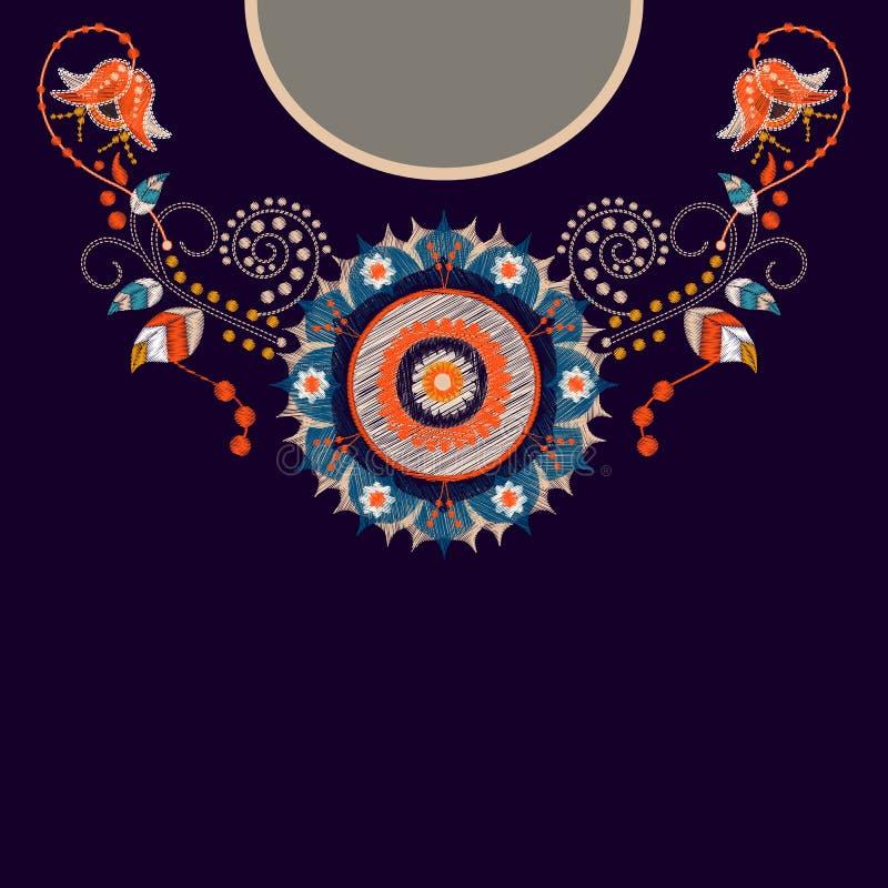 Vektormalldesign för krageskjortor, blusar, T-tröja Broderiblommahals och geometrisk prydnad paisley royaltyfri illustrationer