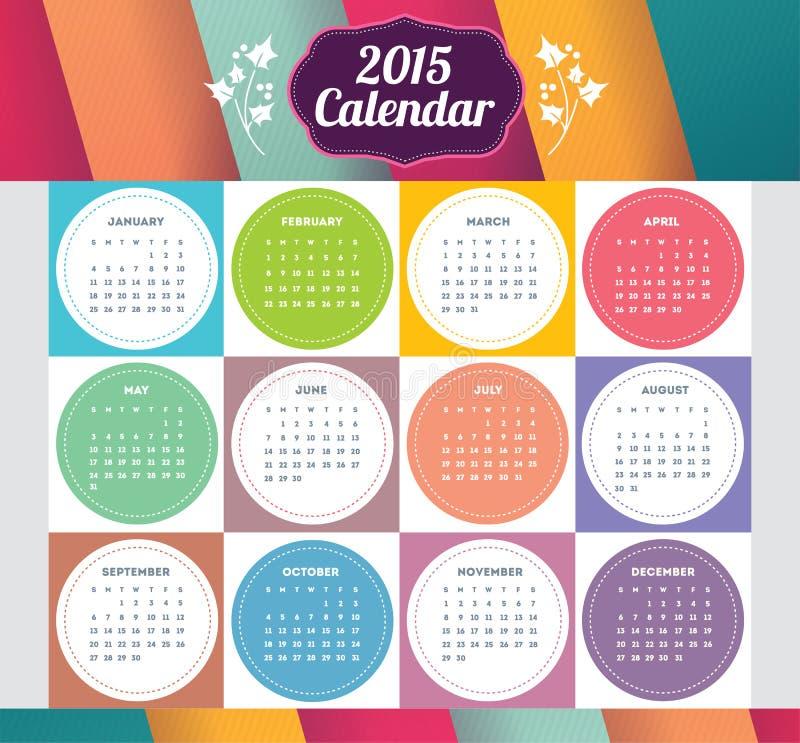 Vektormalldesignen - Calendar 2015 med den pappers- sidan för månader royaltyfria foton