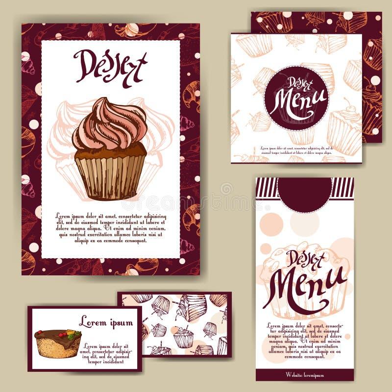 Vektormallen med den drog handen skissar bagerit Efterrättmenydesign för reataurant eller kafé Kort med den söta bageriillustrati stock illustrationer