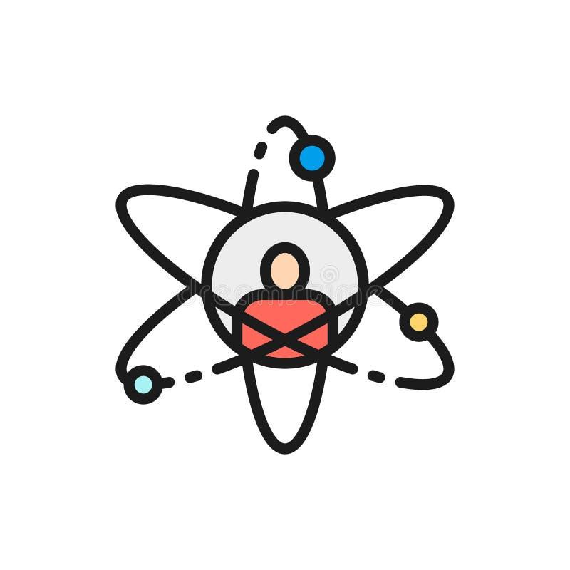 Vektorman i atom, forskare, plan färglinje symbol för personlig utveckling stock illustrationer