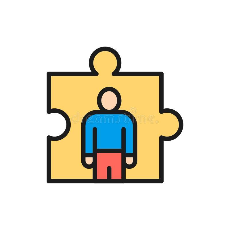 Vektorman, i ett pussel, rekrytering och att hyra den plana färglinjen symbol royaltyfri illustrationer