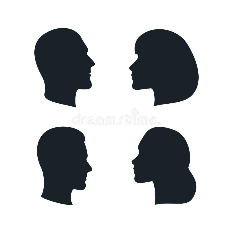 Vektorman och kvinnliga profilkonturer stock illustrationer