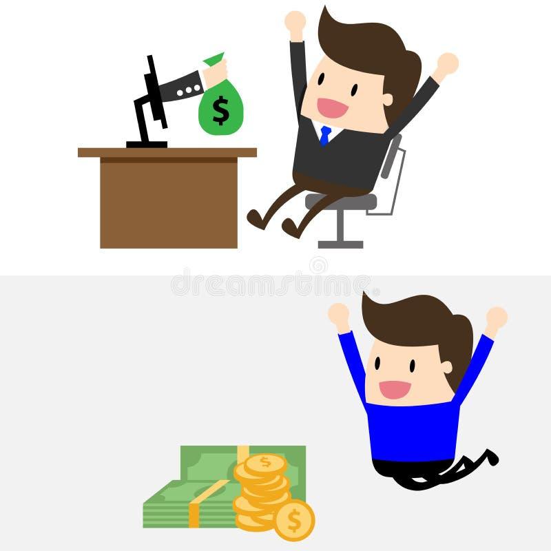 Vektorman och pengar arkivfoton