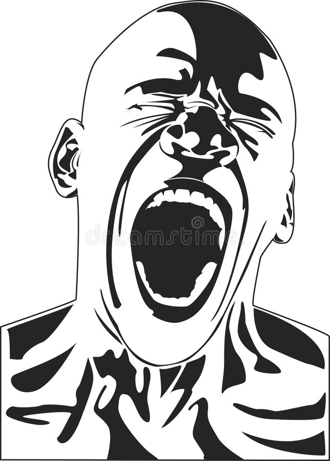Vektorman som skriker i agaony royaltyfri illustrationer