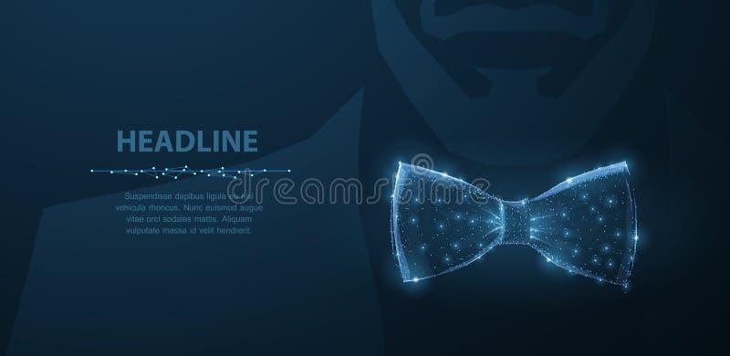 Vektormanband För dräkttorkduk för abstrakt design manlig illustration för pilbåge för band på mörker - blå bakgrund med stjärnor stock illustrationer