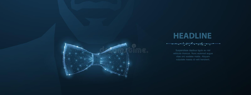 Vektormanband För dräkttorkduk för abstrakt design manlig illustration för pilbåge för band på mörker - blå bakgrund med stjärnor royaltyfri illustrationer