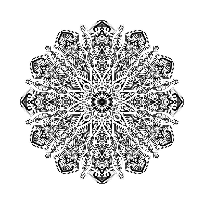 Vektormandala Blumenkreisverzierung mit ethnischen Motiven stock abbildung