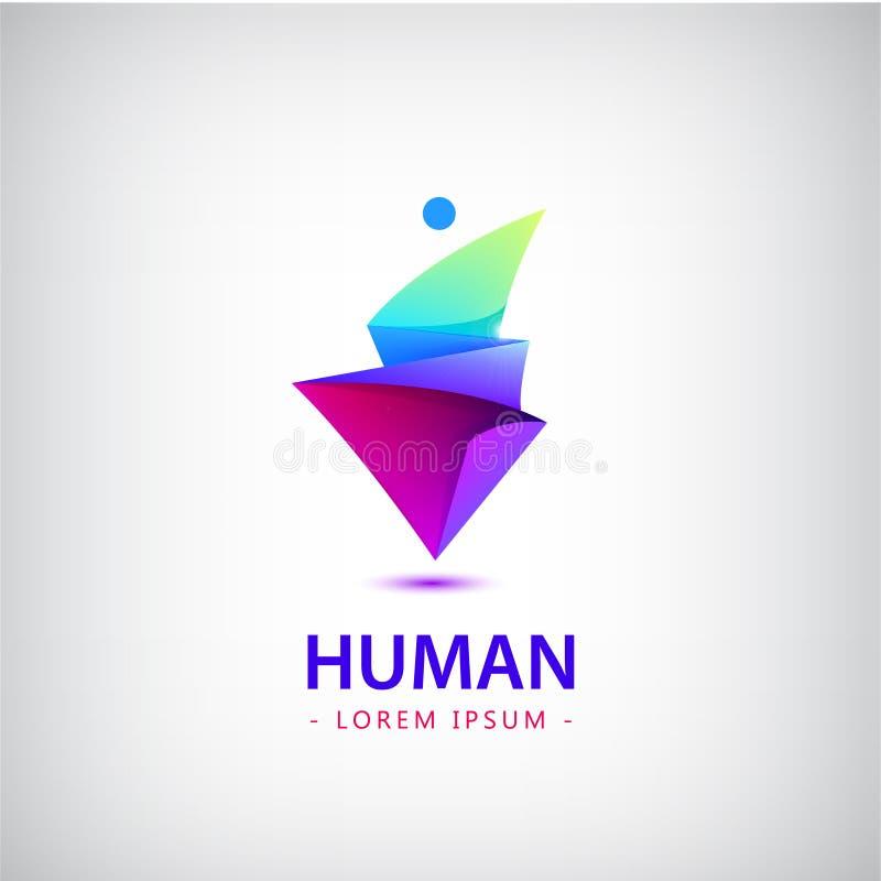 Vektormanlogo, människokropplogo, fasetterad geometrisk stiliserad människa royaltyfri illustrationer