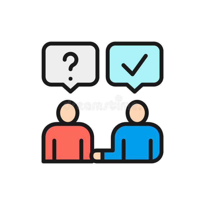 Vektormann beantwortet Fragen, Kommunikation, flache Farblinieikone der Diskussion stock abbildung