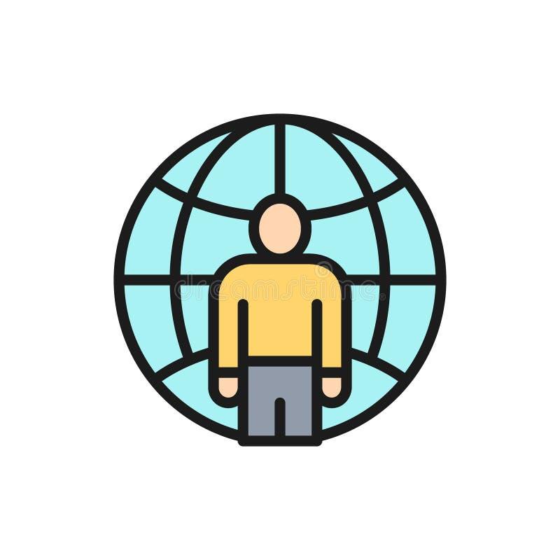 Vektormann mit Planeten, Freiberufler, flache Farblinieikone des internationalen Angestellten lizenzfreie abbildung
