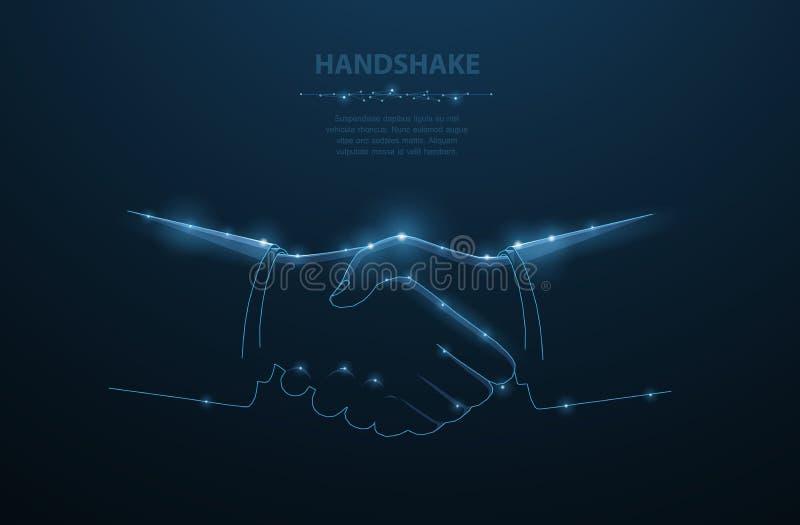 Vektormannhändedruck Abstrakte polygonale Geschäftsmannhändedruckillustration Dunkelblauer Hintergrund mit Sternen stock abbildung