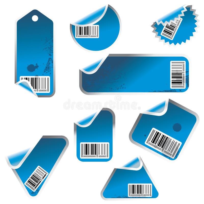 Vektormarke und Aufkleberset stock abbildung