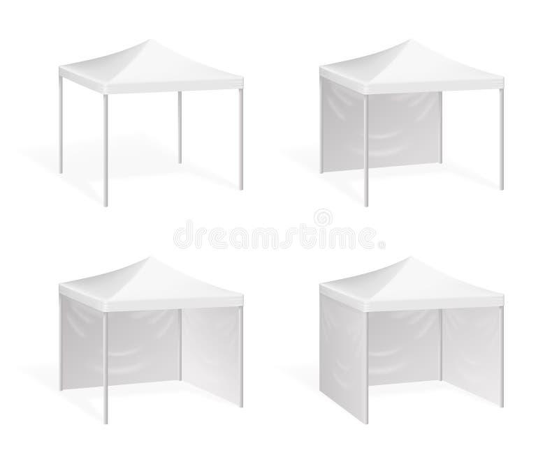 Vektormarkis Poppa upp tältet för utomhus- händelse stock illustrationer