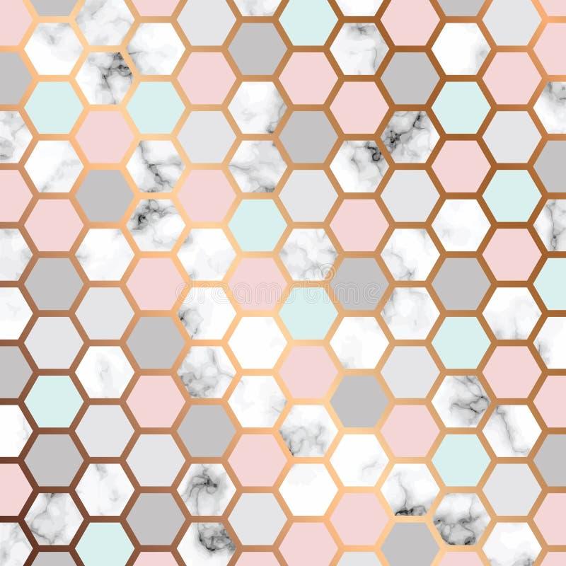 Vektormarmorbeschaffenheitsdesign mit goldenem Bienenwabenmuster, marmornde Schwarzweiss-Oberfläche, moderner luxuriöser Hintergr lizenzfreie abbildung