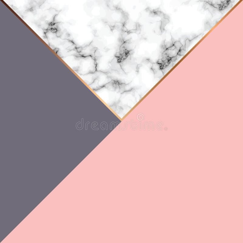 Vektormarmorbeschaffenheitsdesign mit goldenen geometrischen Linien, marmornde Schwarzweiss-Oberfläche, moderner luxuriöser Hinte vektor abbildung