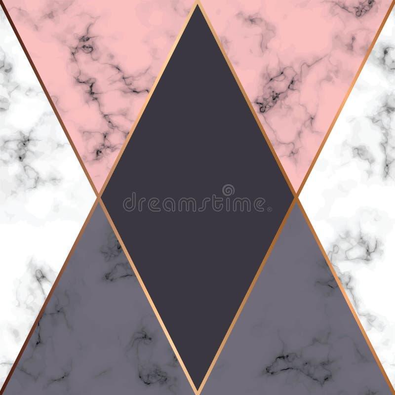 Vektormarmorbeschaffenheitsdesign mit goldenen geometrischen Linien, marmornde Schwarzweiss-Oberfläche, moderner luxuriöser Hinte lizenzfreie abbildung