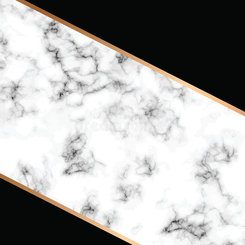 Vektormarmorbeschaffenheitsdesign mit goldenen geometrischen Linien, marmornde Schwarzweiss-Oberfläche, moderner luxuriöser Hinte stock abbildung