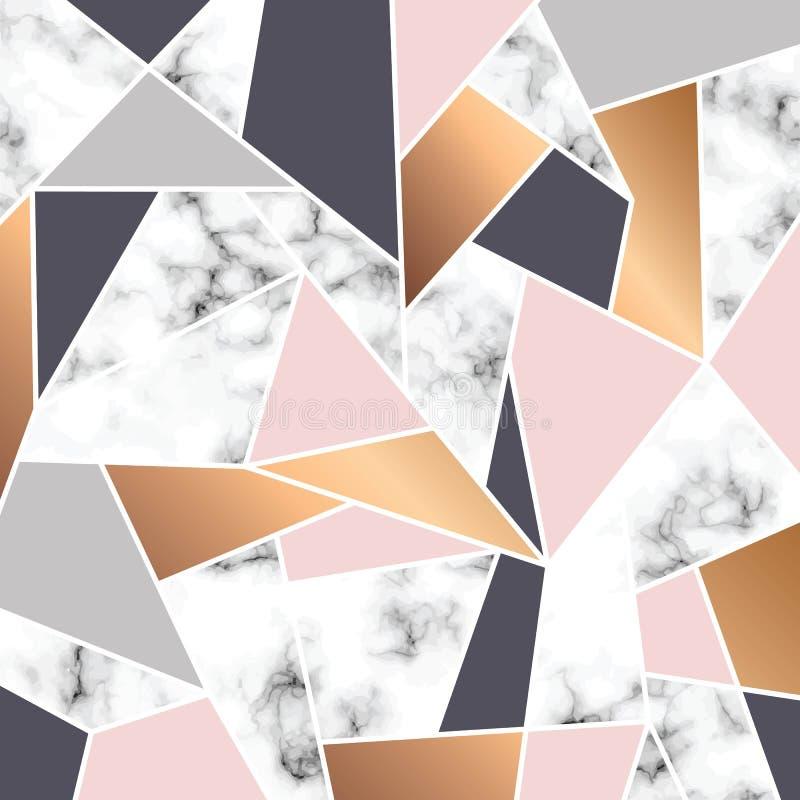 Vektormarmorbeschaffenheitsdesign mit weißen geometrischen Linien, marmornde Schwarzweiss-Oberfläche, moderner luxuriöser Hinterg lizenzfreie abbildung