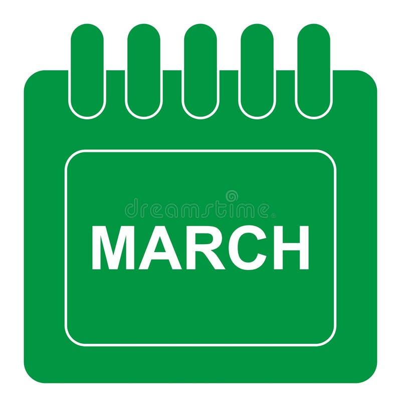 Vektormarsch auf Monatskalendergrünikone lizenzfreie abbildung