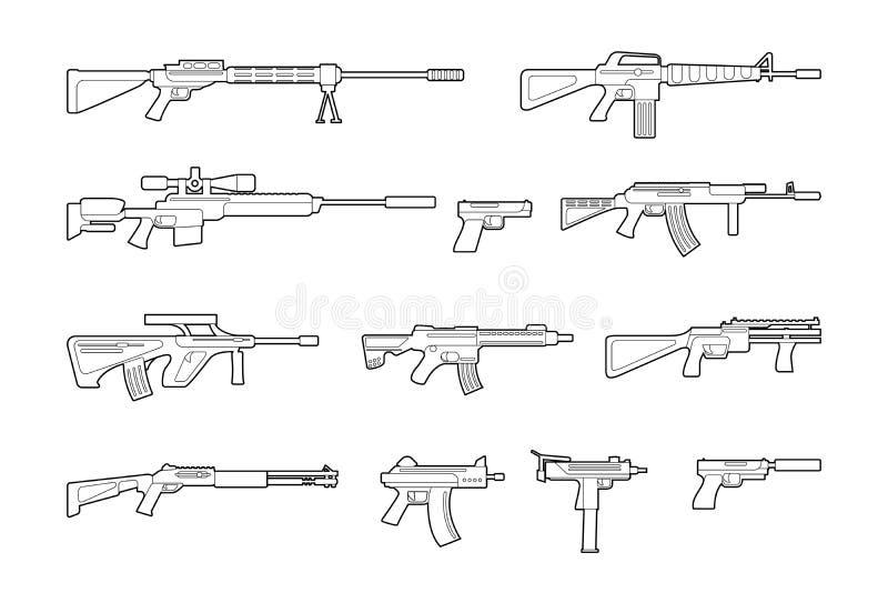 Vektormaskingevär- och pistollinje symbolsuppsättning stock illustrationer