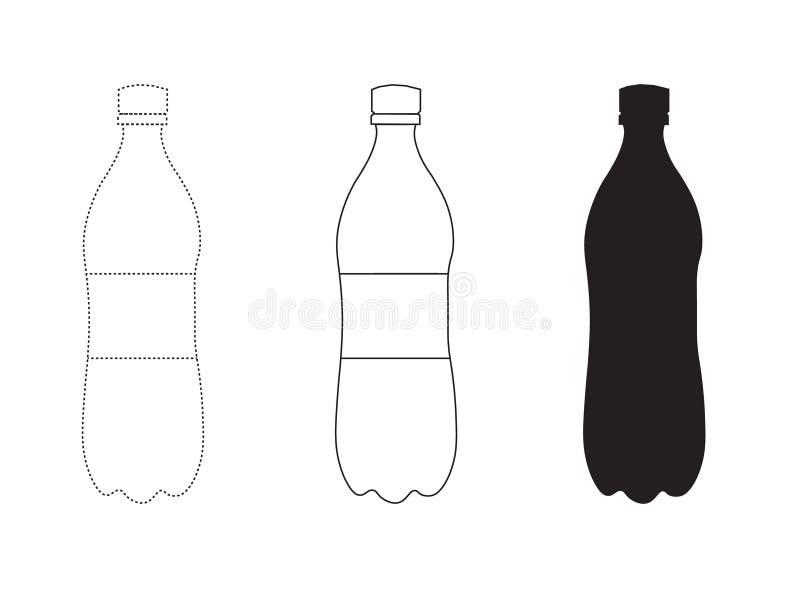 Vektormaterielillustration av en enkel plast- flaska vektor illustrationer
