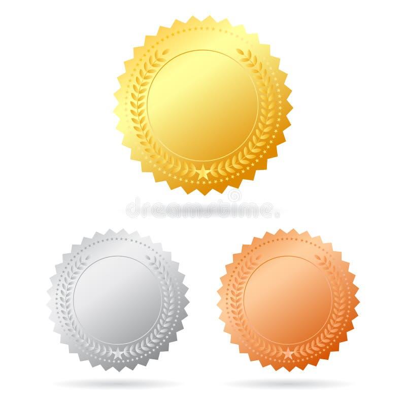 Vektormedaljer royaltyfri illustrationer