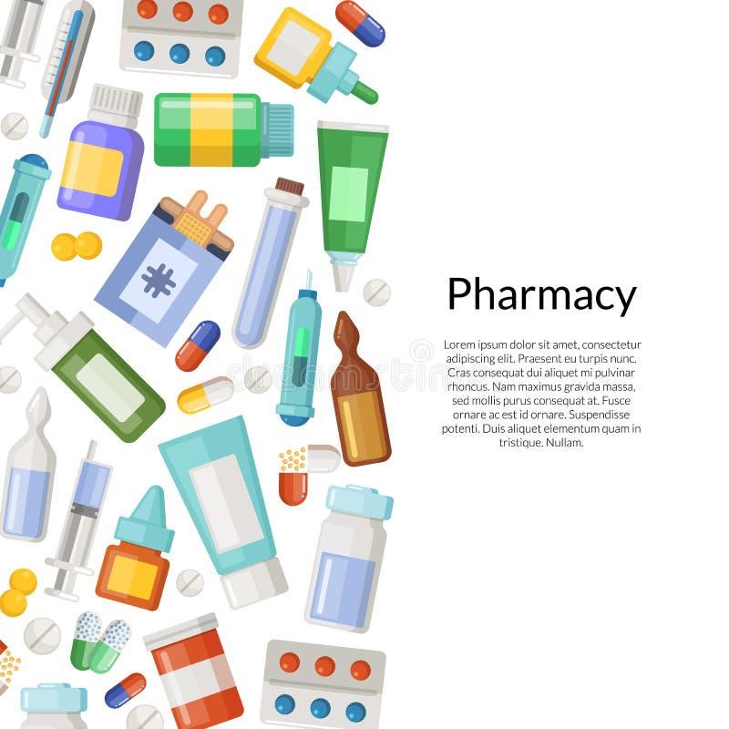Vektormediciner, preventivpillerar och dryckbakgrund royaltyfri illustrationer