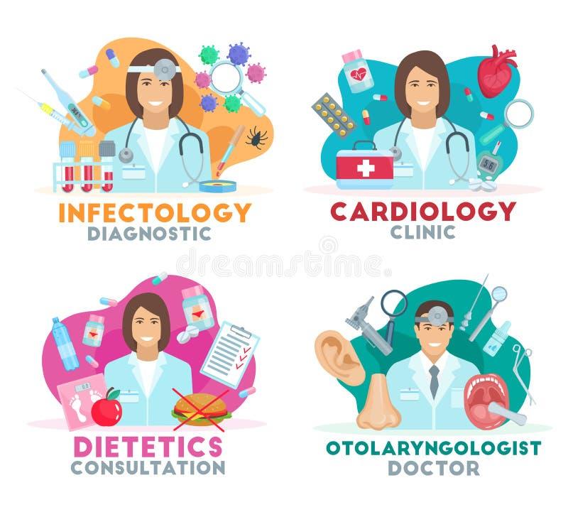 Vektormedicinsymboler med doktorer stock illustrationer