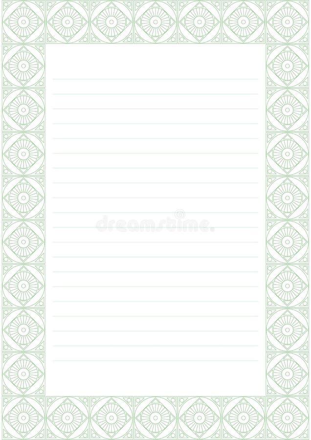 Vektormellanrum för bokstav, kort eller charter Vitbokform med den dekorativa dekorativa gränsen för pastellgräsplan Format för f vektor illustrationer
