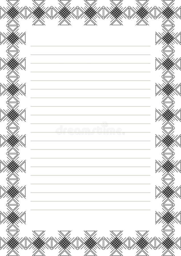 Vektormellanrum för bokstav, kort eller charter Vitbokform med den röda dekorativa dekorativa gränsen Format för format A4 royaltyfri illustrationer