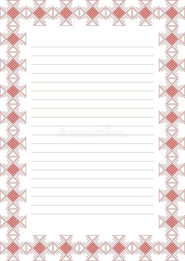 Vektormellanrum för bokstav, kort eller charter Vitbokform med den röda dekorativa dekorativa gränsen Format för format A4 vektor illustrationer