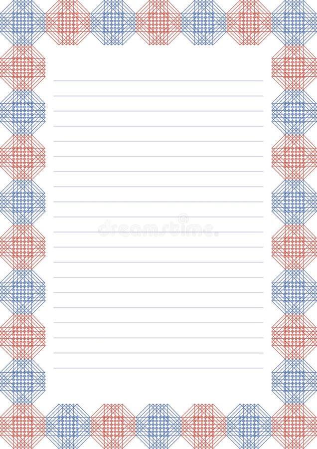 Vektormellanrum för bokstav, kort eller charter Vitbokform med den röda och blåa dekorativa dekorativa gränsen Format för format  vektor illustrationer