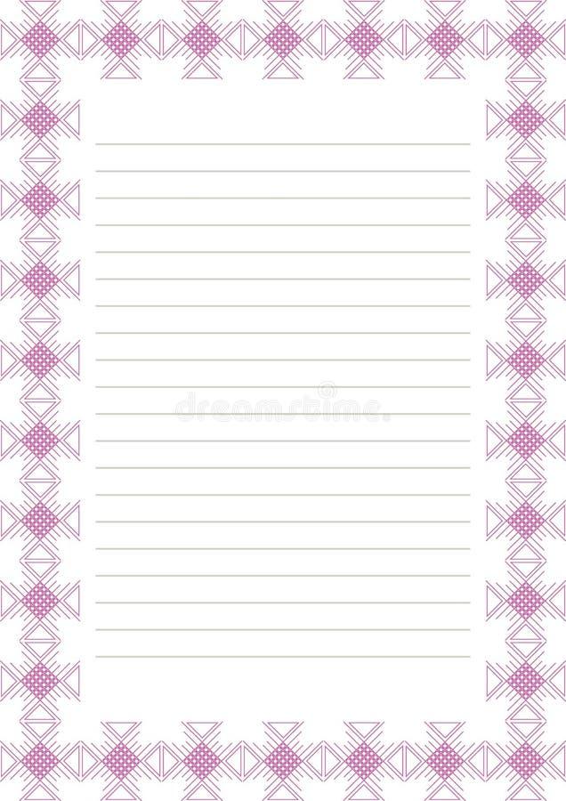 Vektormellanrum för bokstav, kort eller charter Vitbokform med den rosa dekorativa dekorativa gränsen royaltyfri illustrationer