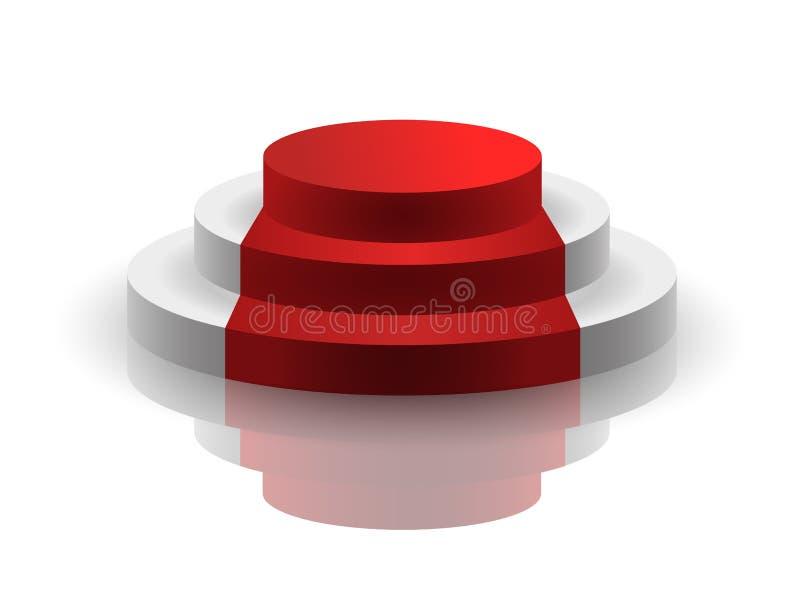 Vektormellanrumspodium med röd matta och reflexion som isoleras på vit bakgrund royaltyfri illustrationer