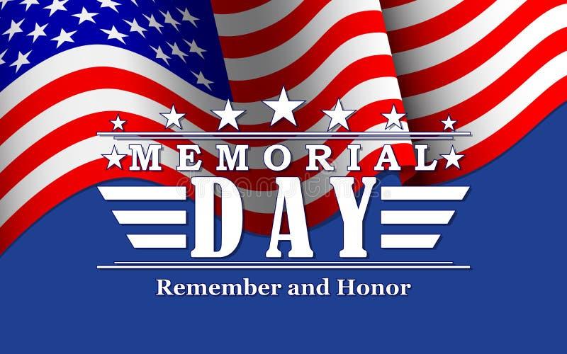 VektorMemorial Day bakgrund med stjärnor, USA flaggan och bokstäver Mall för Memorial Day vektor illustrationer