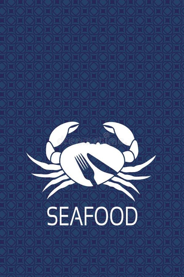 Vektormenüaufkleber mit Schattenbild der Krabbe und Symbol des Messers, Gabel Meeresfrüchtesymbole auf blauem Hintergrund für pro lizenzfreie abbildung