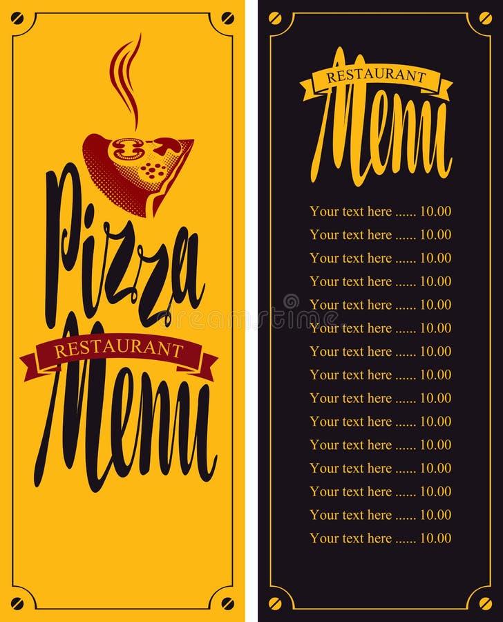 Vektormeny för pizzeria vektor illustrationer