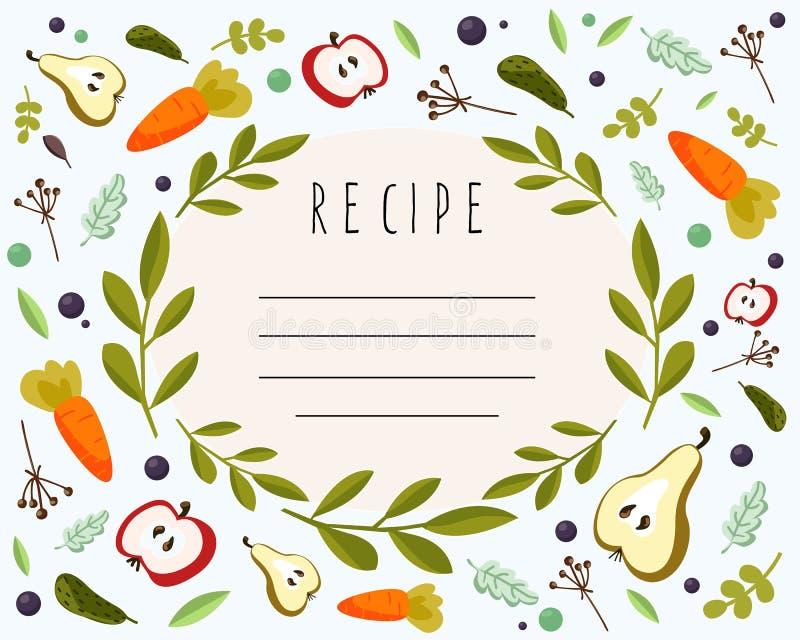 Vektormenybeståndsdel för recept stock illustrationer