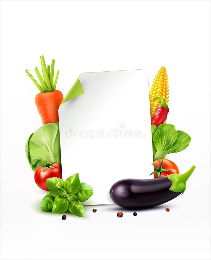 Vektormenymodell med grönsakmorötter, kål, basilika, till stock illustrationer