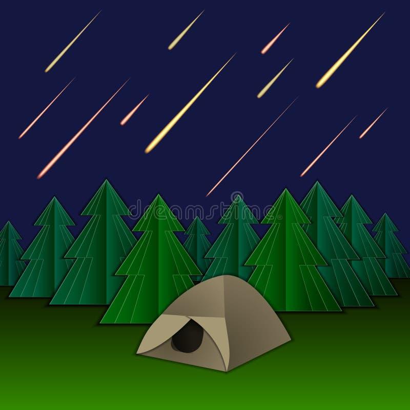 Vektormeteorregn, tält och granträd, glänsande meteor på himlen vektor illustrationer
