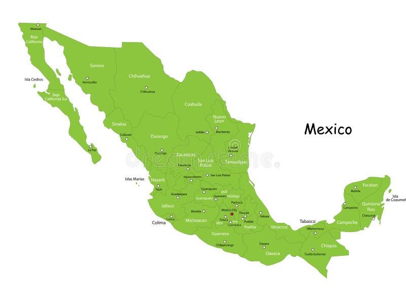 VektorMexico översikt stock illustrationer