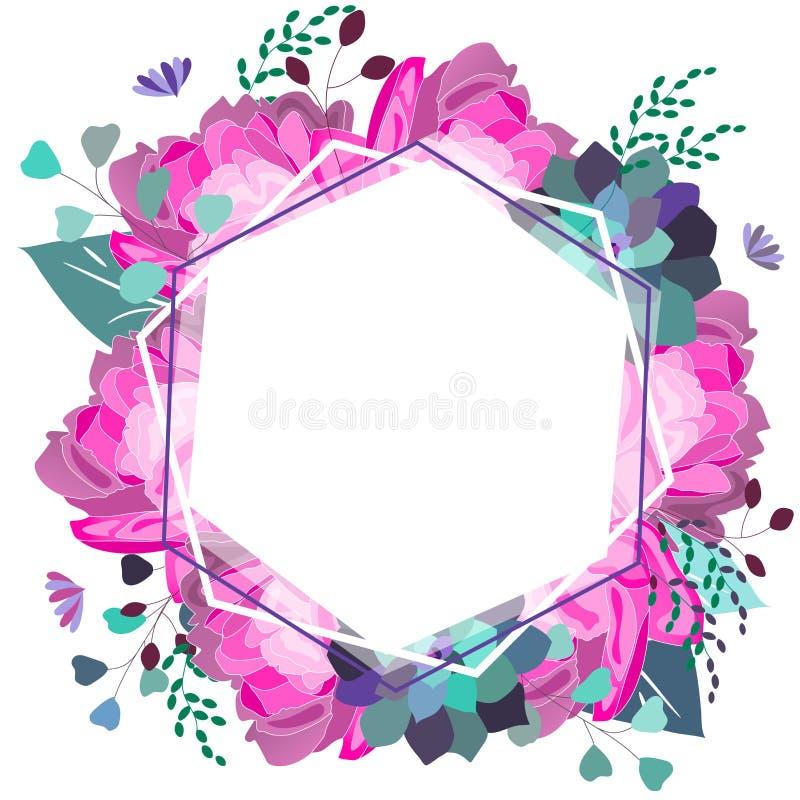 Vektormit Blumenromantisches, Rosa und purpurrote Zusammensetzung Modische Blumen, saftig, Blätter, Grün Sommer, Frühling, Hochze stock abbildung