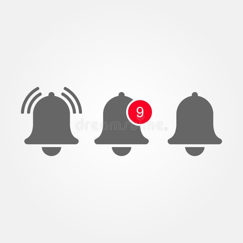 Vektormitteilungs-Glockenikone auf Lager für Klingelnglocke des ankommenden inbox Mitteilungs-Vektors und Mitteilungszahlzeichen lizenzfreie abbildung