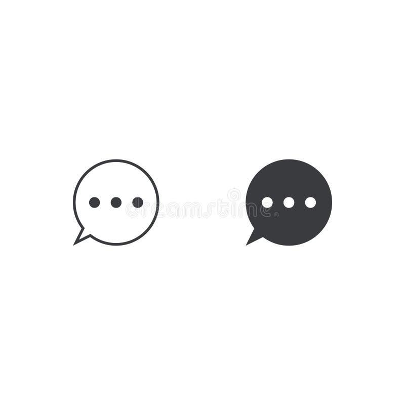 Vektormitteilungsikone Spracheblase mit zwei Kreisen Element für beweglichen App oder Website des Entwurfs Schwarze Dialogwolke l lizenzfreie abbildung