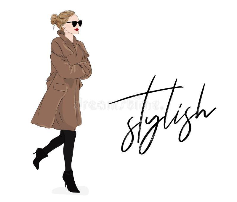 Vektormodeillustration: flicka i beige lag och solglasögon Affisch för teckning för vårhöstmodell Stulish tidskrift vektor illustrationer