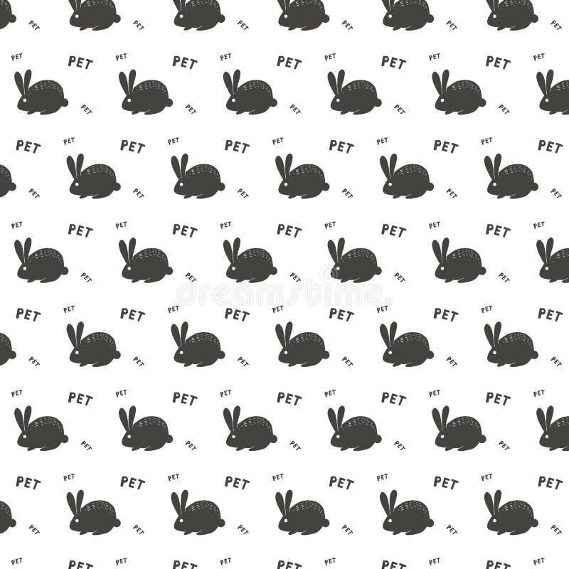Vektormodell av prydnadmodellen med vita kaninhare- och vitbokstäver och det vita djuret för skydd för hjärtastilsortskanin på mö vektor illustrationer