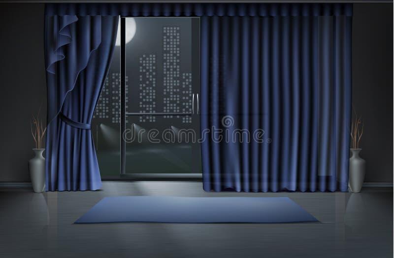 Vektormodell av tomt rum, inre i natt royaltyfri illustrationer