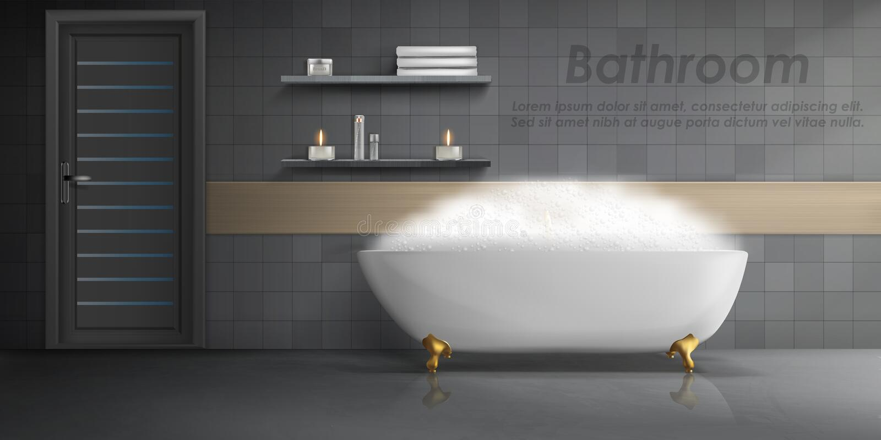 Vektormodell des modernen Badezimmerinnenraums lizenzfreie abbildung